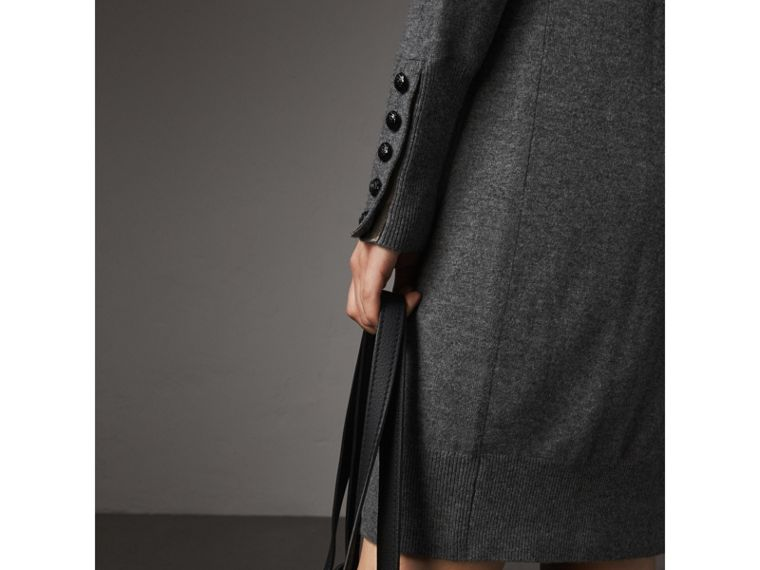 Knitted Wool Cashmere Sweater Dress in Mid Grey Melange - Women | Burberry - cell image 1