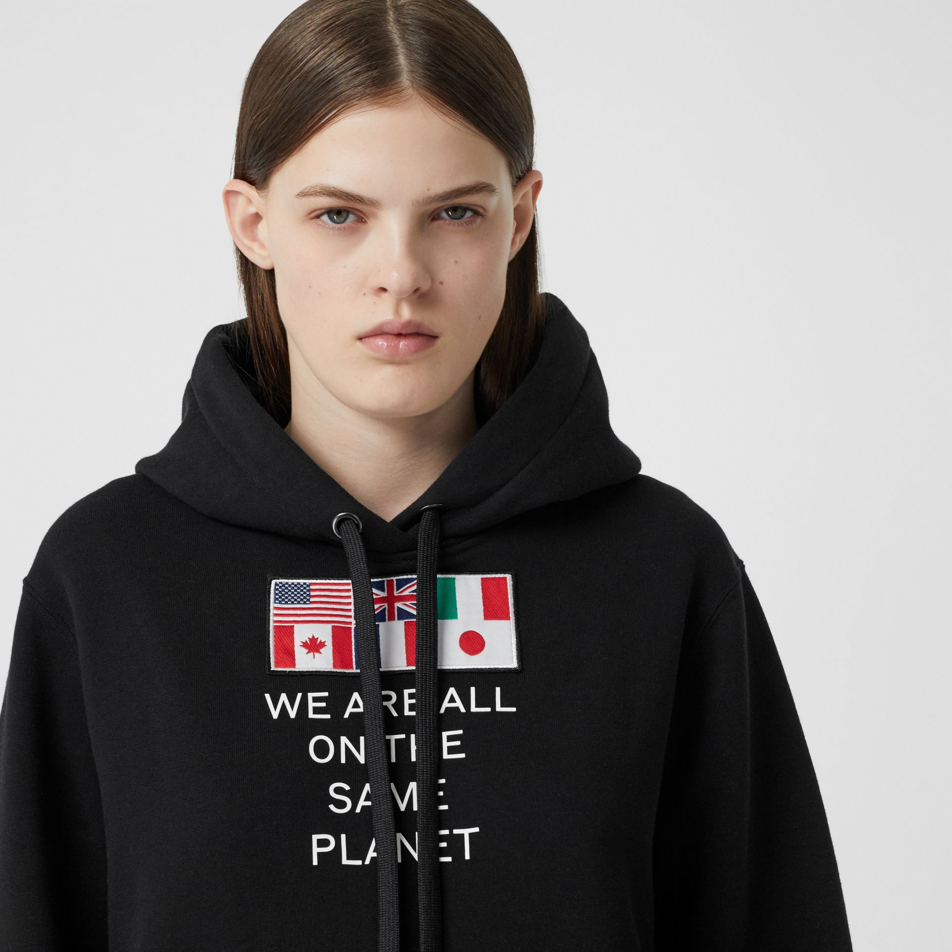 Flag Appliqué and Print Cotton Oversized Hoodie in Black - Women | Burberry - gallery image 1