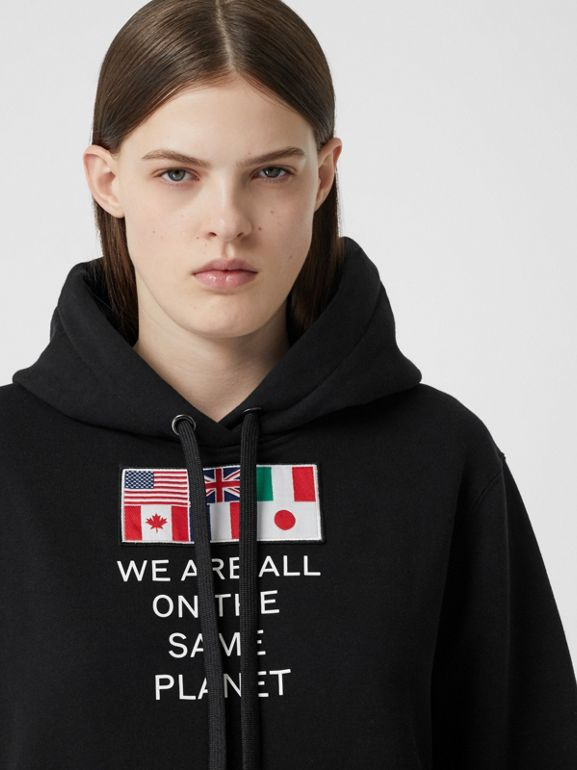 Flag Appliqué and Print Cotton Oversized Hoodie in Black - Women | Burberry Hong Kong S.A.R - cell image 1