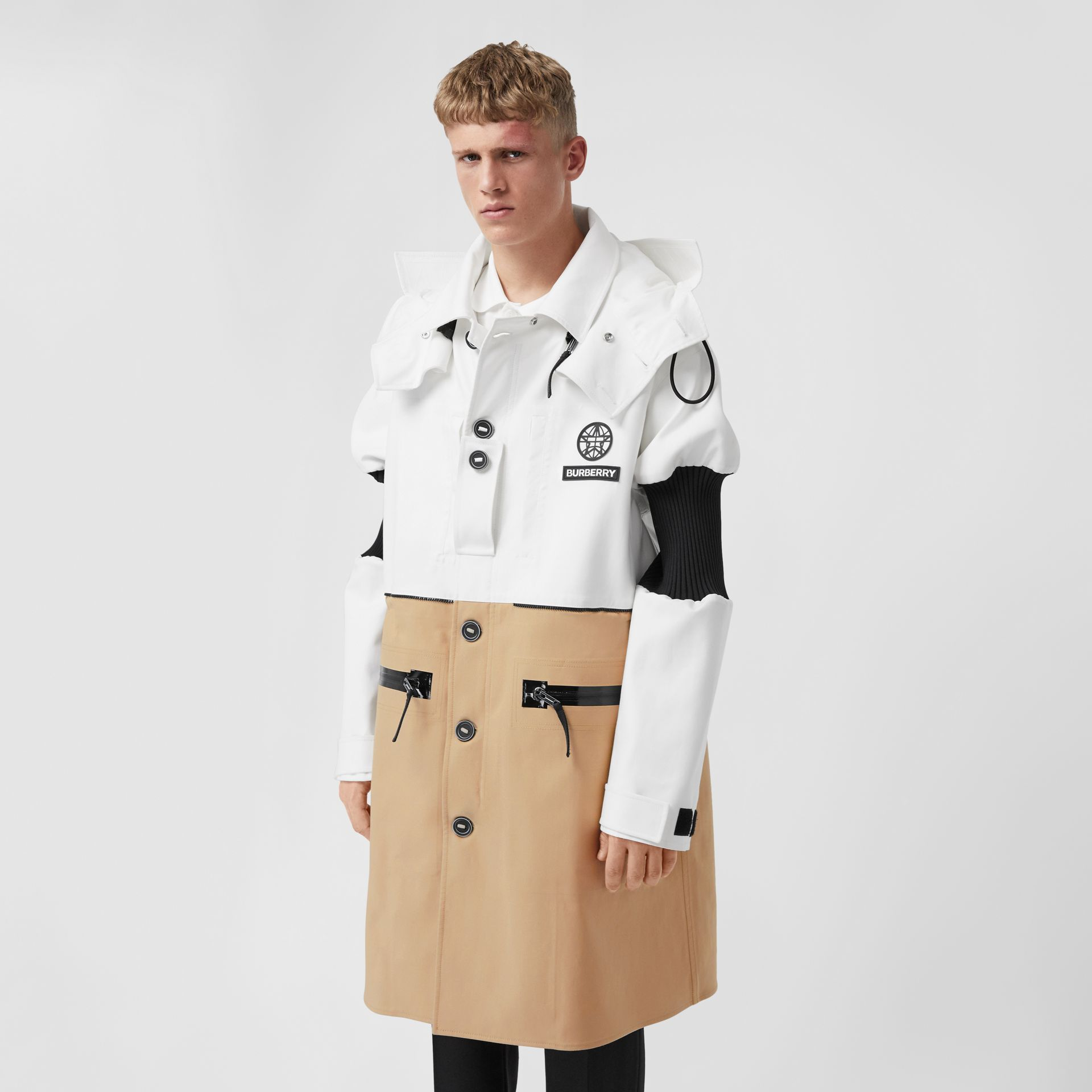 Detachable Hood Cotton Reconstructed Car Coat in Optic White | Burberry United Kingdom - gallery image 6