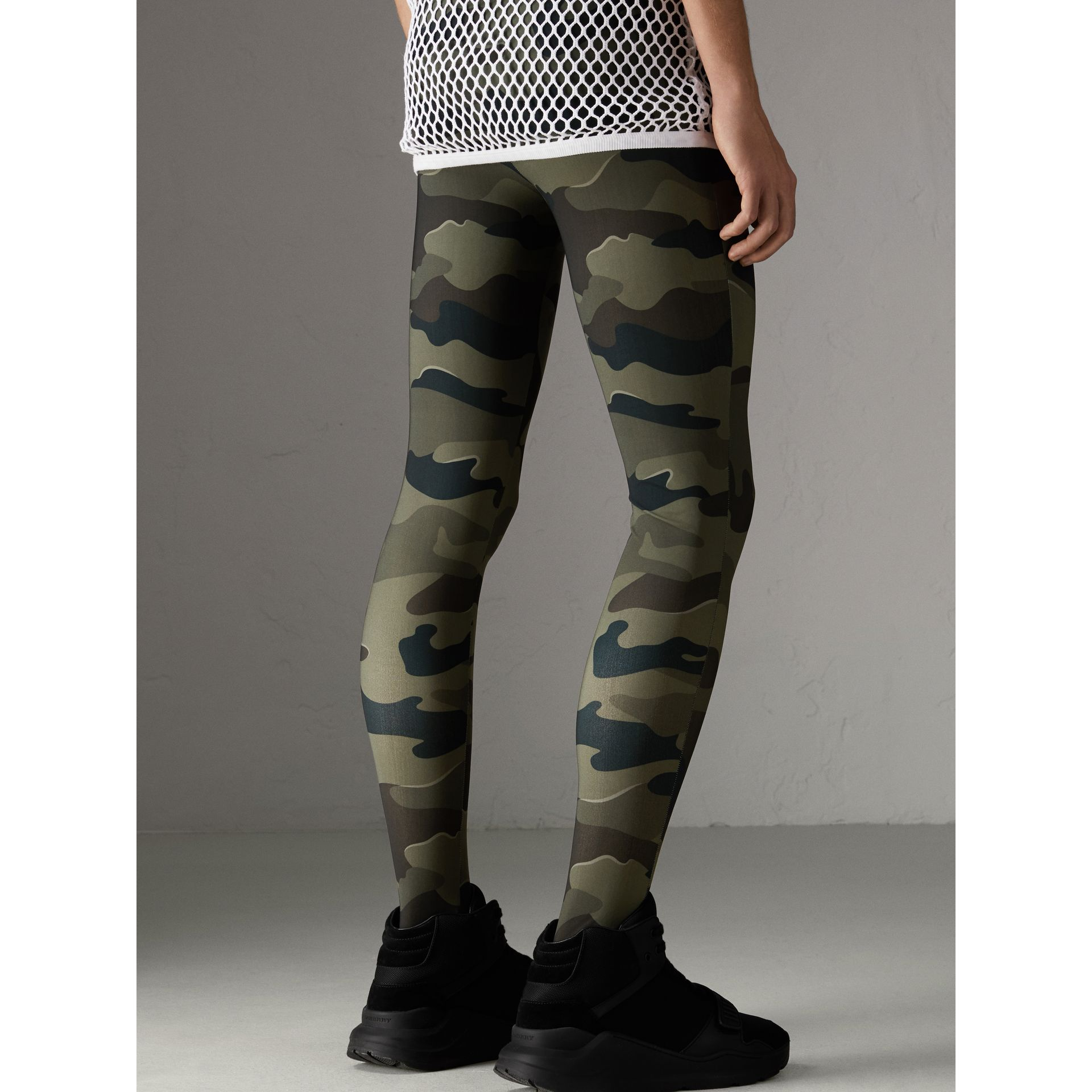 Camouflage Print Stretch Jersey Leggings in Slate Green | Burberry - gallery image 2