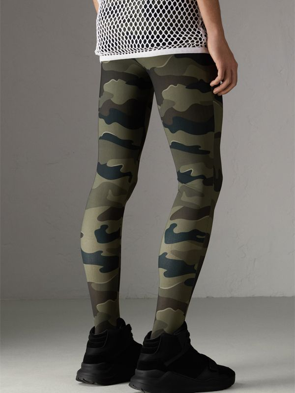 Camouflage Print Stretch Jersey Leggings in Slate Green | Burberry - cell image 2