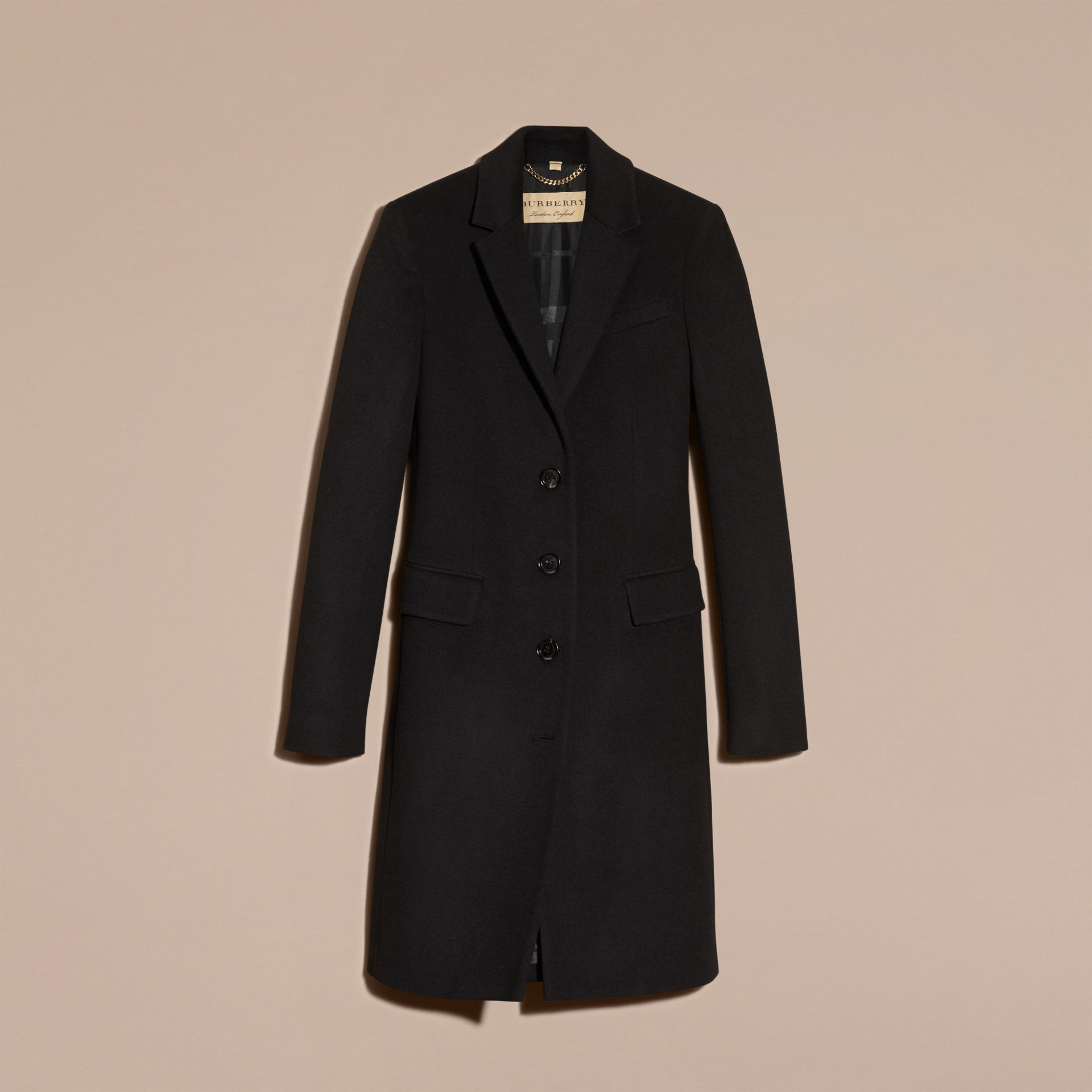 Wool Cashmere Tailored Coat in Black - gallery image 4