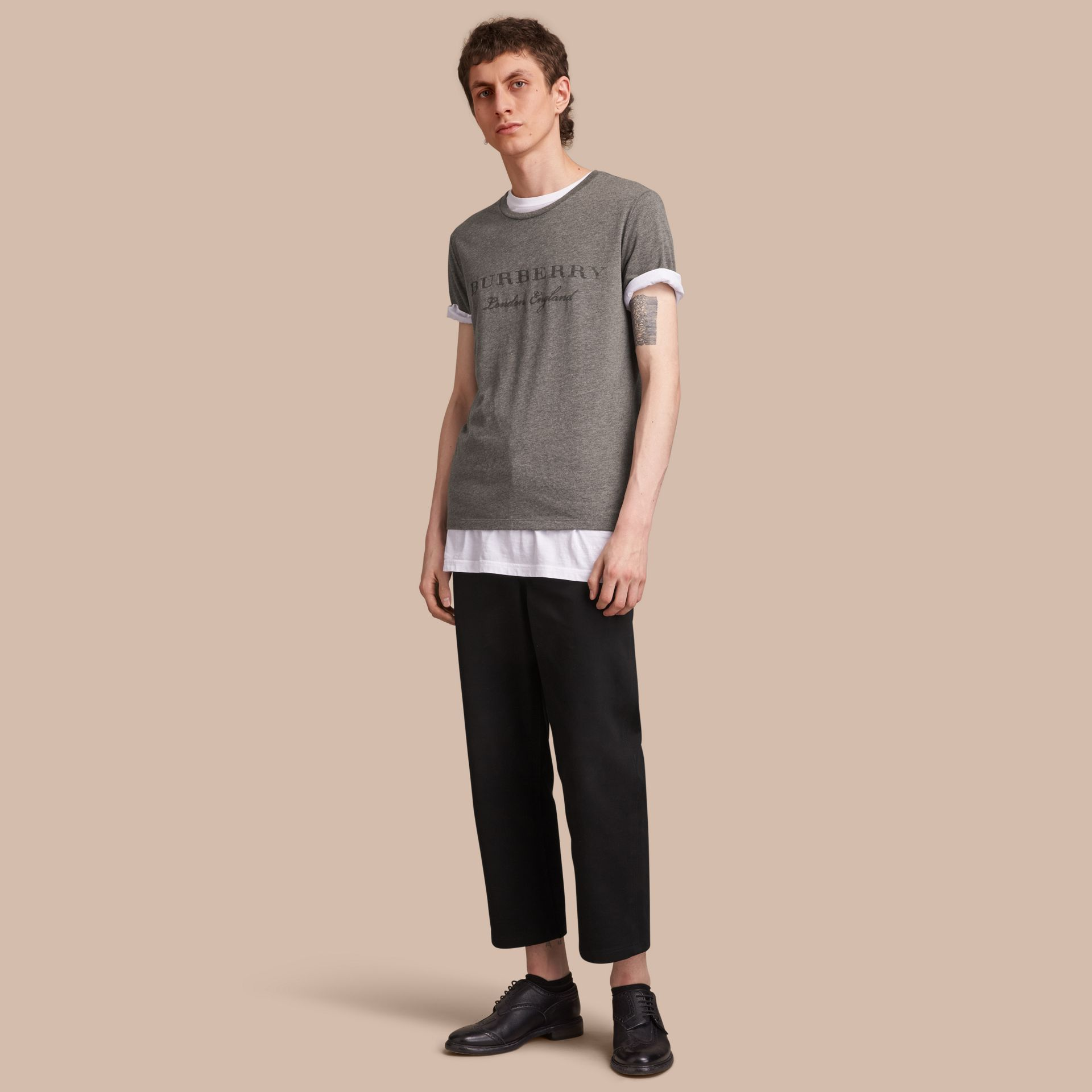 Contrast Motif Cotton Blend T-shirt Mid Grey Melange - gallery image 1