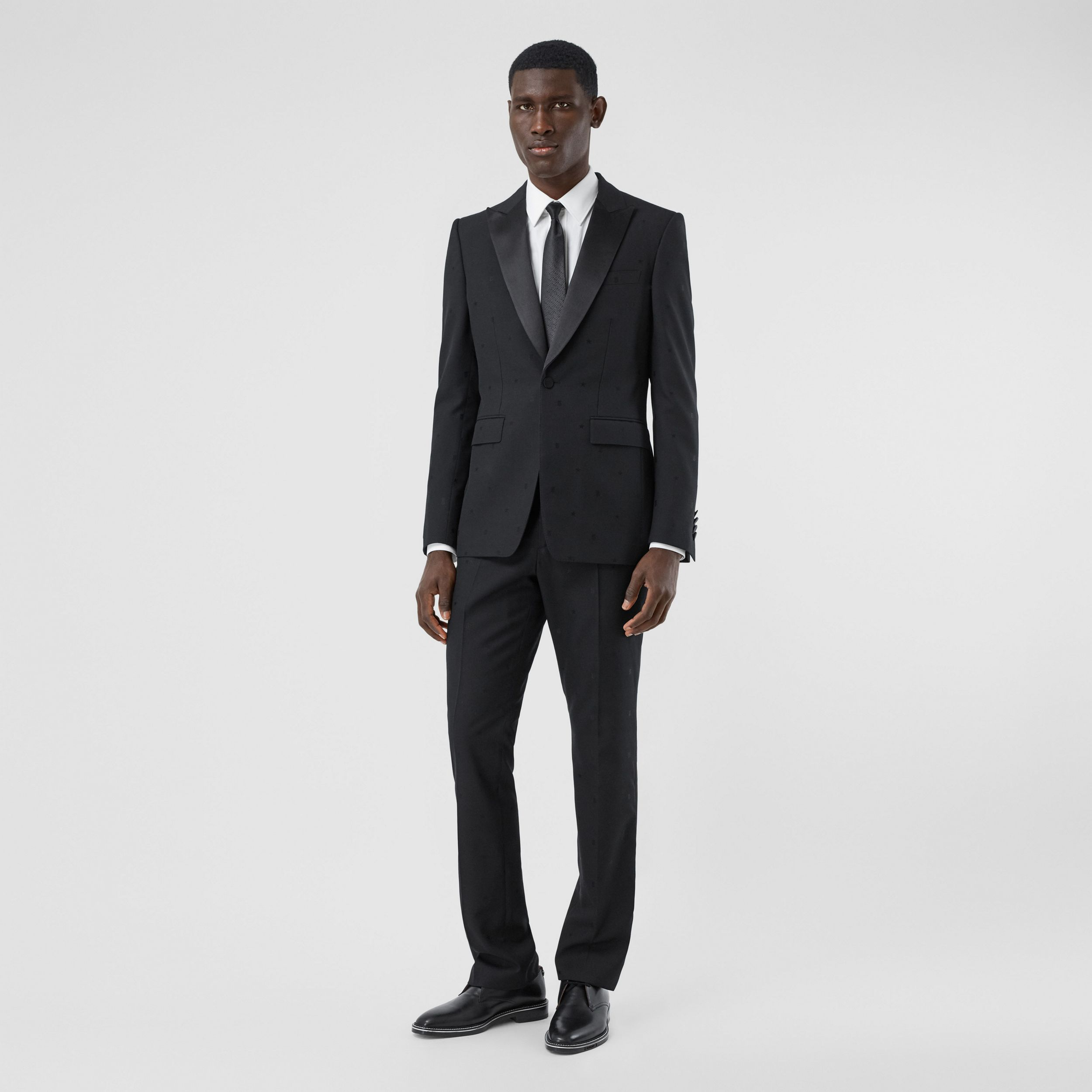 Star and Monogram Motif Wool Silk Jacquard Trousers in Black - Men | Burberry - 1