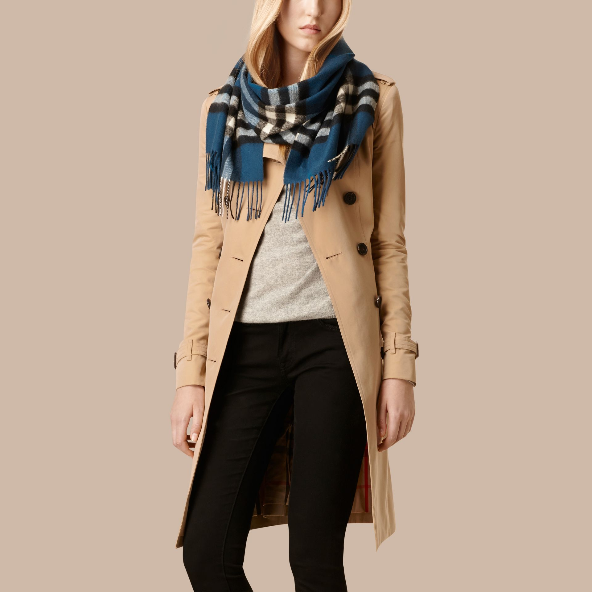 Marine blue The Classic Cashmere Scarf in Check Marine Blue - gallery image 3
