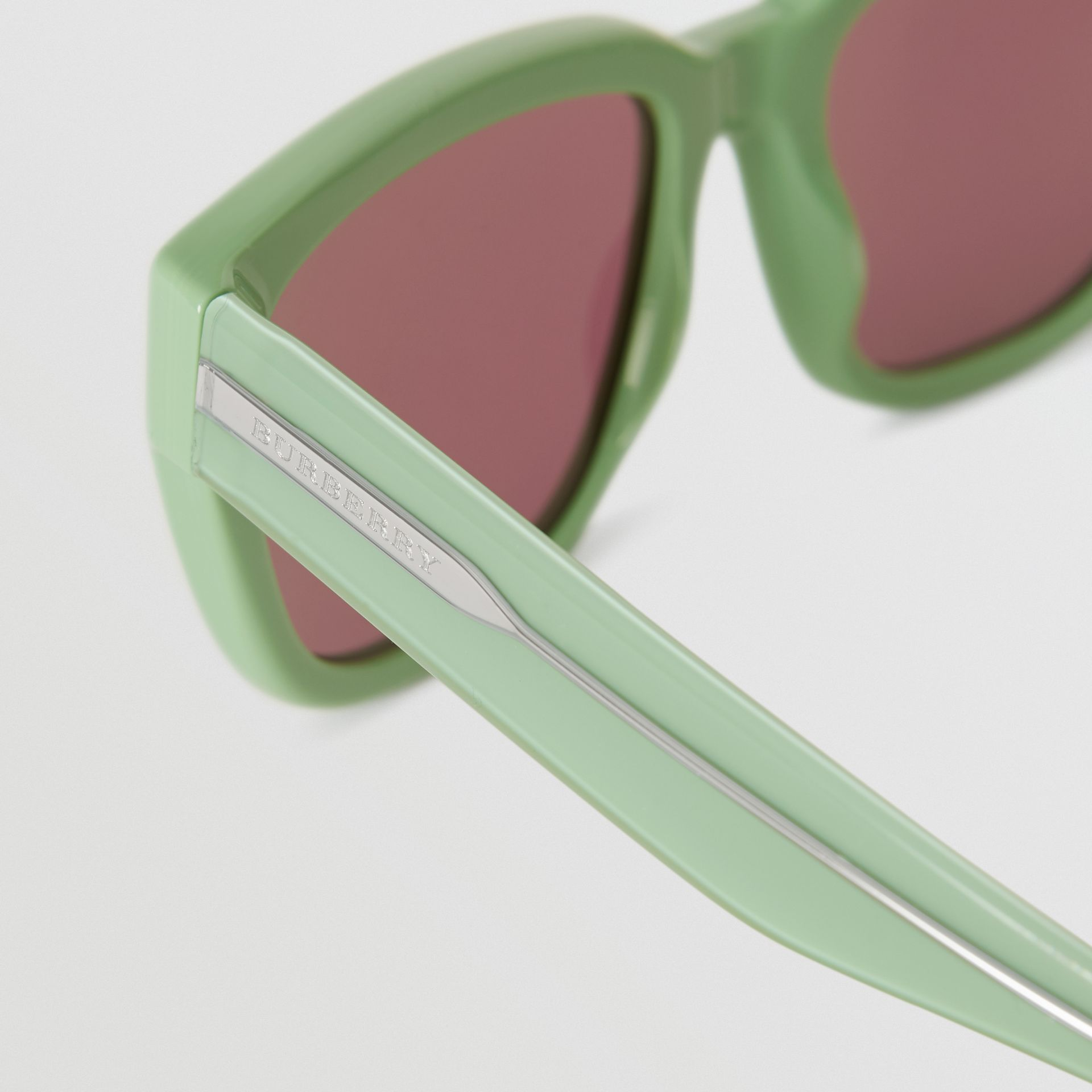 Square Frame Sunglasses in Mint Green - Women | Burberry United Kingdom - gallery image 1