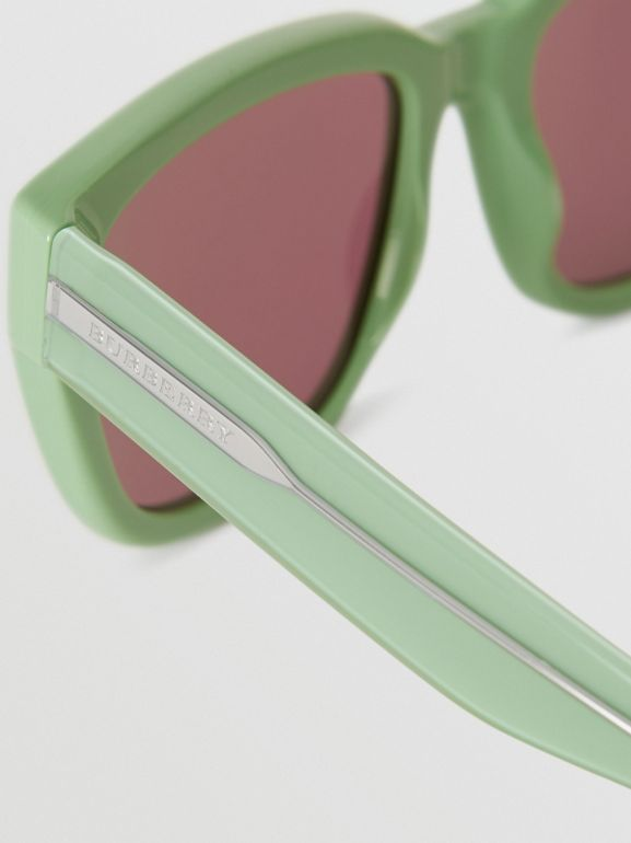 Square Frame Sunglasses in Mint Green - Women | Burberry - cell image 1