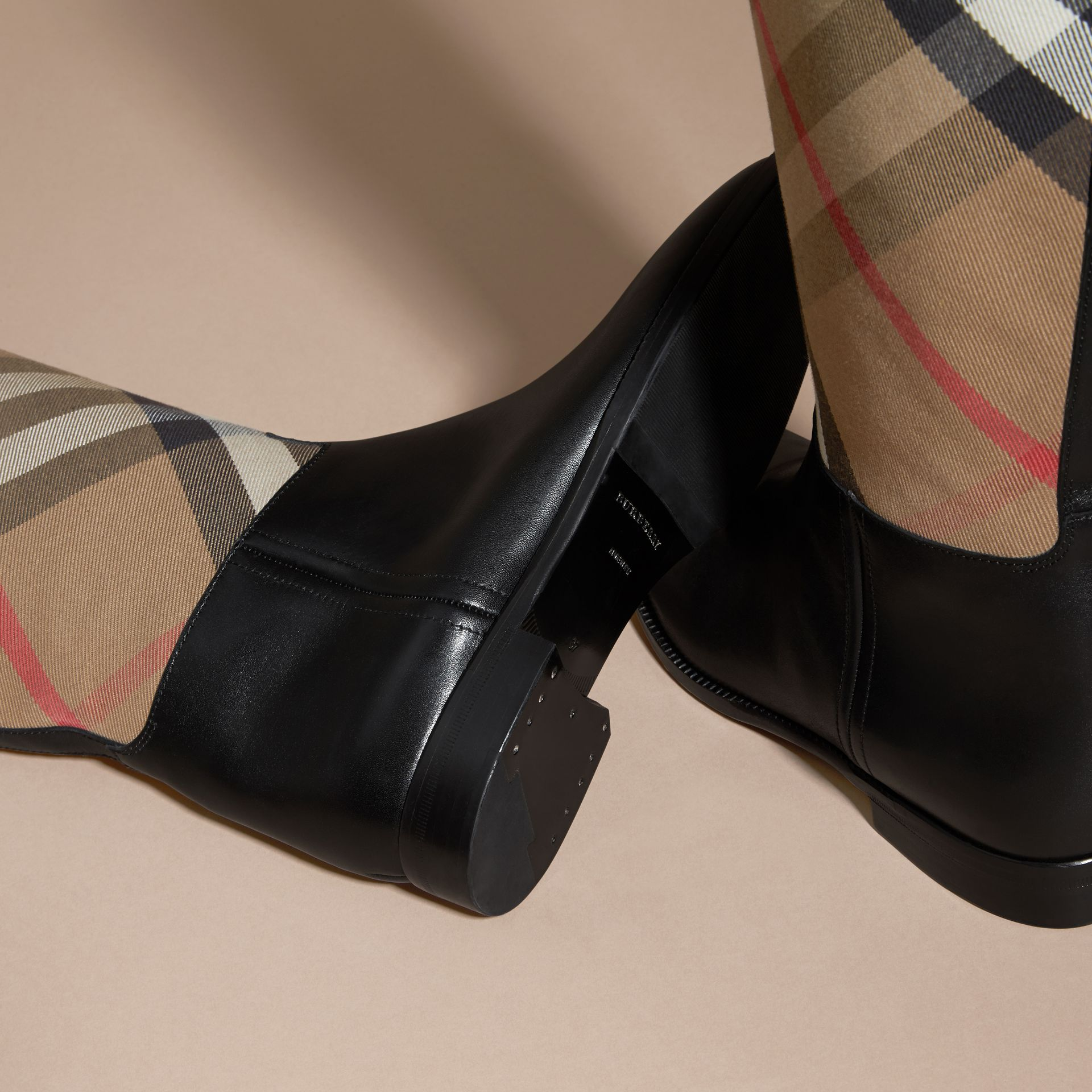 House Check and Leather Riding Boots in Black - Women | Burberry - gallery image 2