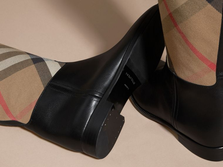 House Check and Leather Riding Boots in Black - Women | Burberry - cell image 1