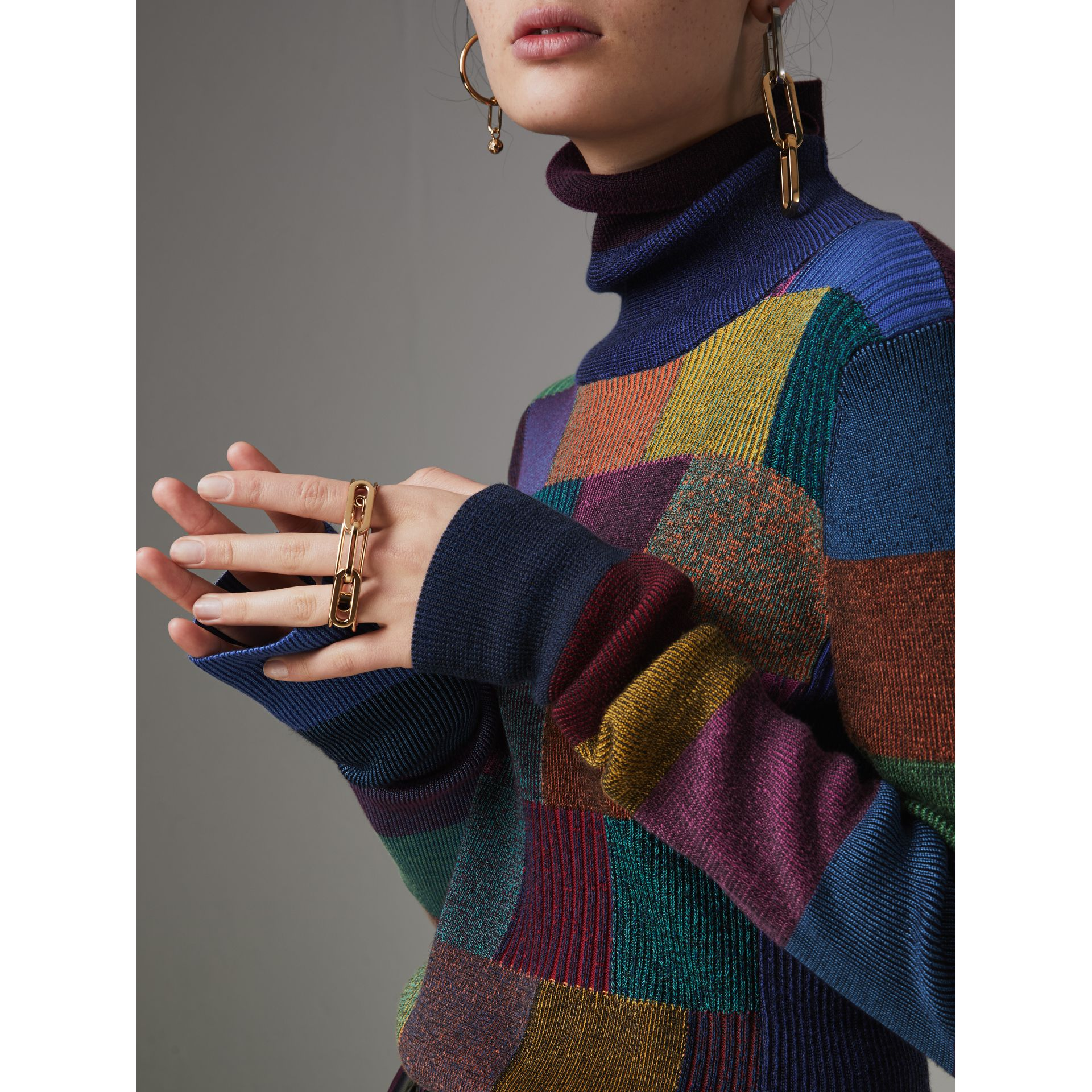 Patchwork Cotton Blend Roll-neck Sweater in Amber - Women | Burberry United Kingdom - gallery image 1