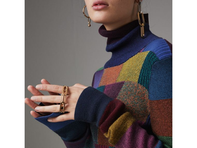 Patchwork Cotton Blend Roll-neck Sweater in Amber - Women | Burberry Hong Kong - cell image 1