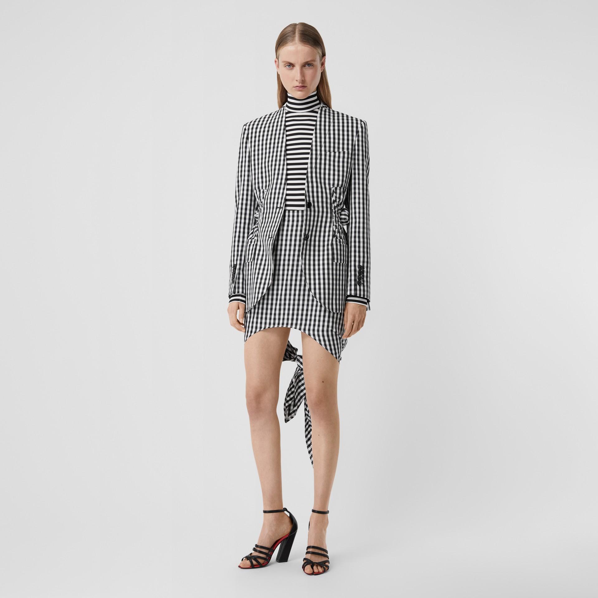 Scarf-tie Detail Gingham Technical Wool Mini Skirt in Black - Women | Burberry - gallery image 0