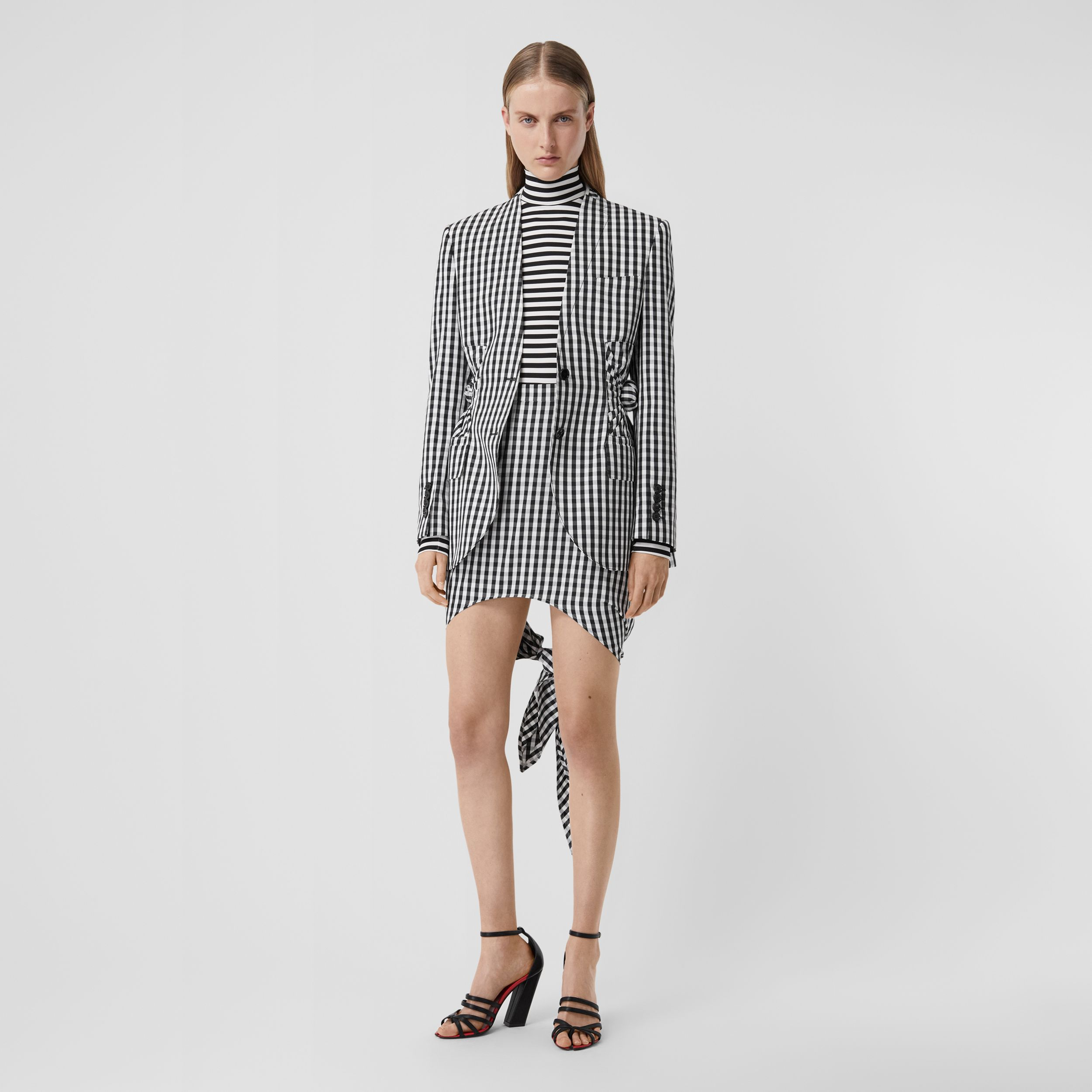 Scarf-tie Detail Gingham Technical Wool Mini Skirt in Black - Women | Burberry - 1