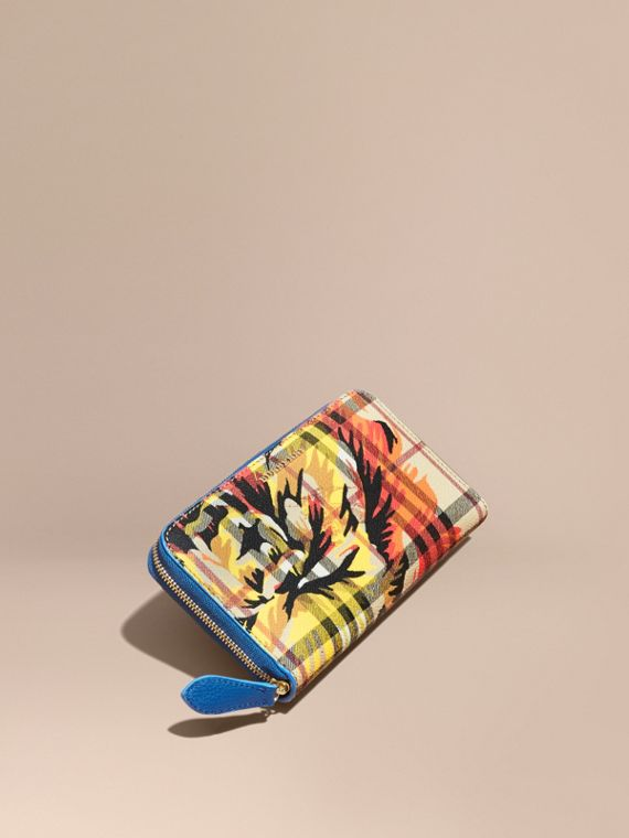 Peony Rose Print Haymarket Check and Leather Ziparound Wallet Mineral Blue/vibrant Orange