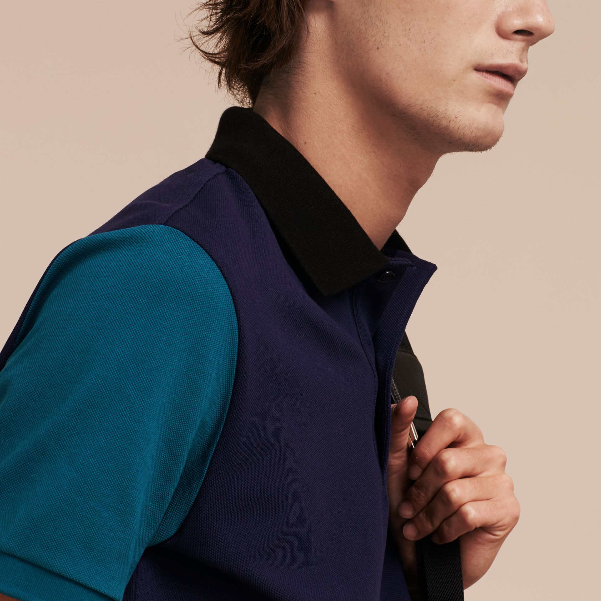 Indigo Colour-block Cotton Piqué Polo Shirt Indigo - gallery image 5