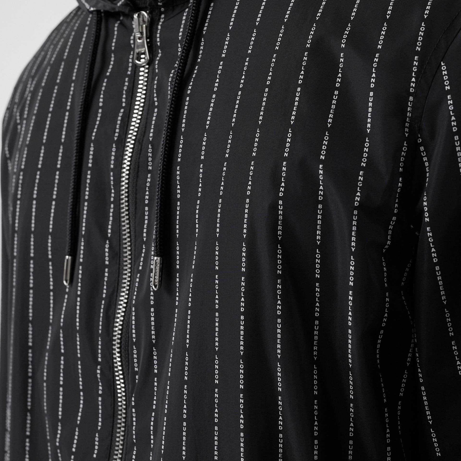 Logo Pinstripe Nylon Hooded Jacket in Black - Men   Burberry United Kingdom - gallery image 7