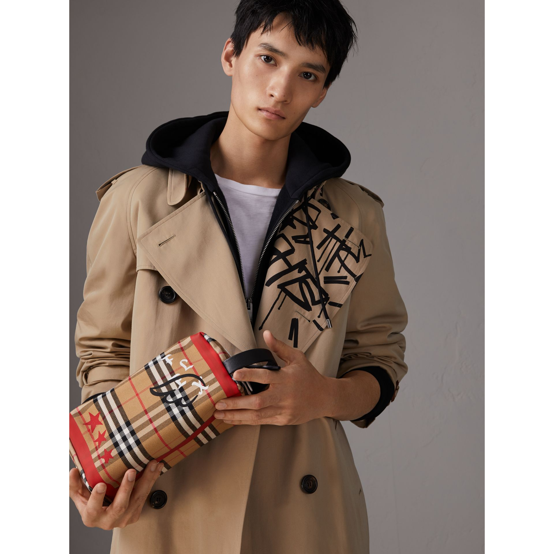 Burberry x Kris Wu Vintage Check Cotton Pouch in Antique Yellow - Men | Burberry Australia - gallery image 3