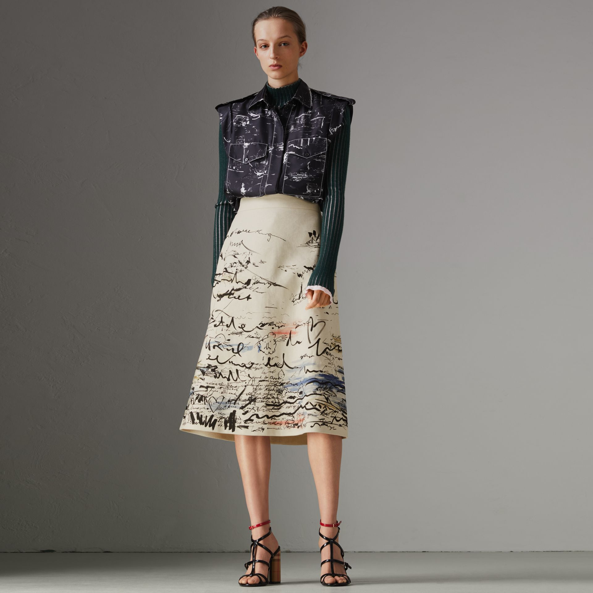 Coastal Print Cotton Linen A-line Skirt in Natural White - Women | Burberry - gallery image 0