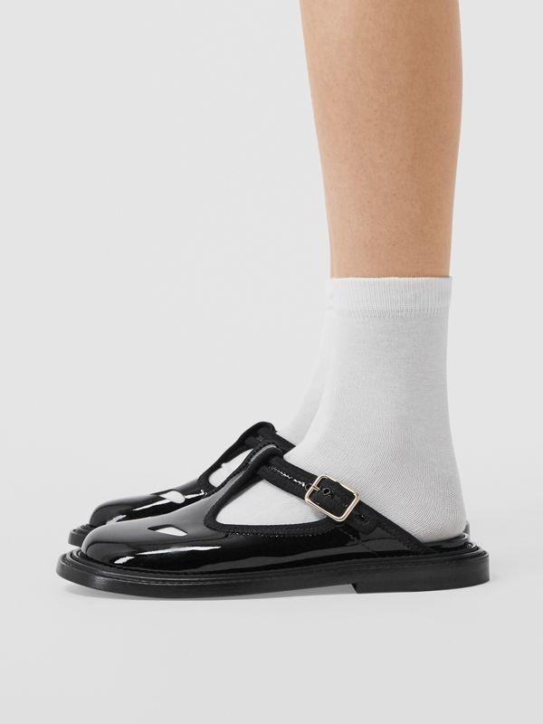 Patent Leather T-bar Mules in Black - Women | Burberry Australia - cell image 2