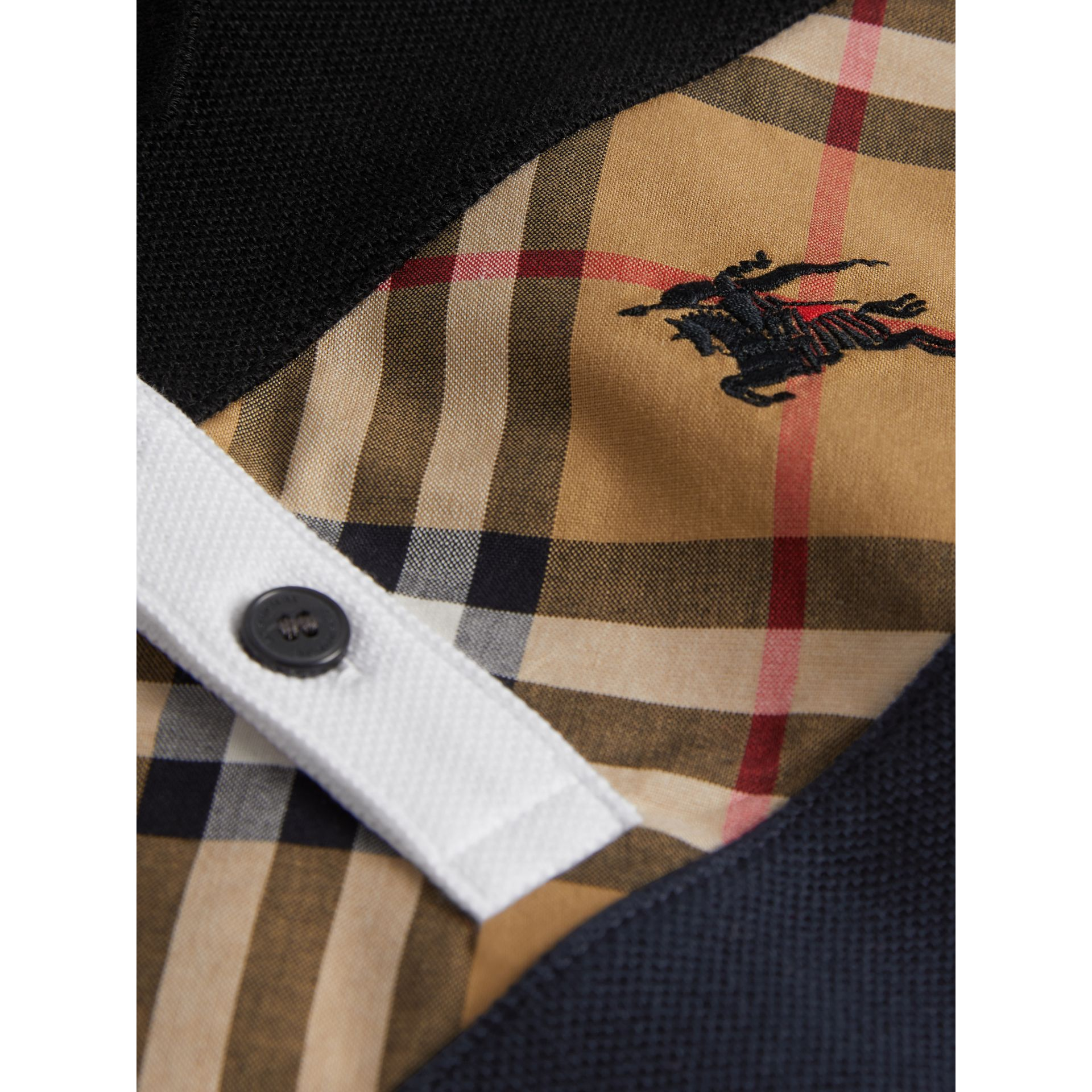 Vintage Check Panel Cotton Polo Shirt in Navy | Burberry Canada - gallery image 1