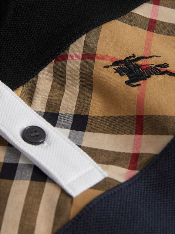 Vintage Check Panel Cotton Polo Shirt in Navy | Burberry - cell image 1