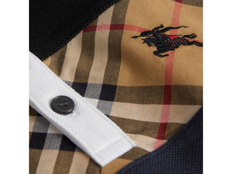 Vintage Check Panel Cotton Polo Shirt in Navy - Boy | Burberry United Kingdom - cell image 1