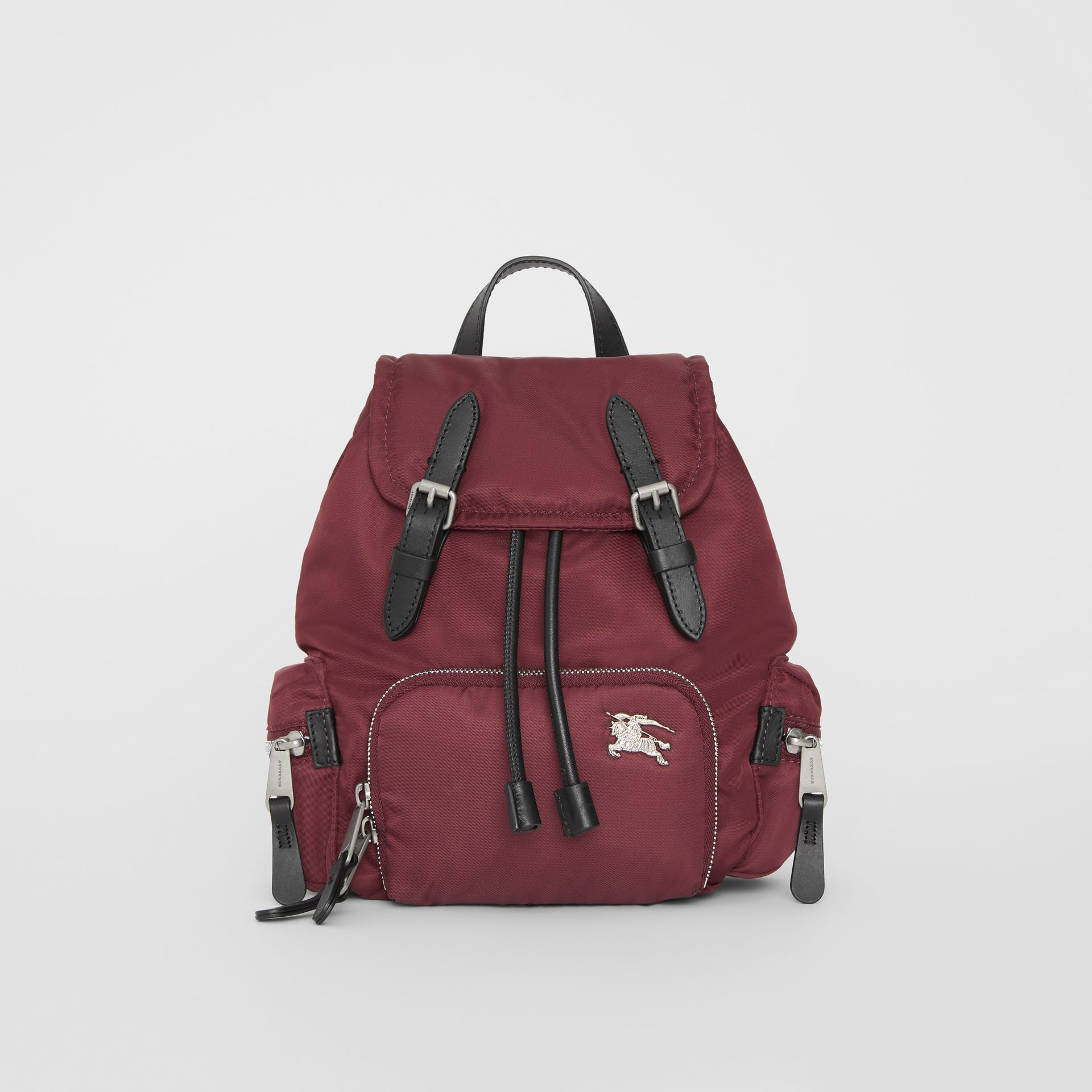 The Small Crossbody Rucksack in Puffer Nylon in Burgundy Red - Women | Burberry Australia - gallery image 0