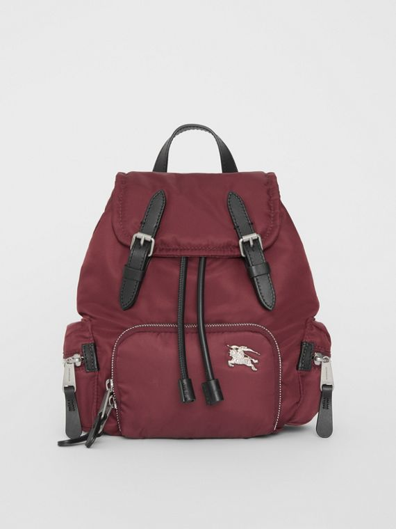 The Small Crossbody Rucksack in Puffer Nylon in Burgundy Red