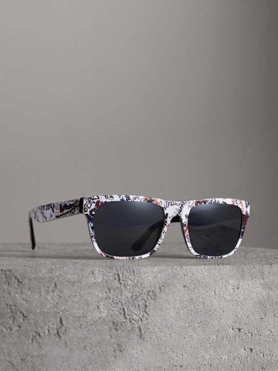 Doodle Square Frame Sunglasses in White