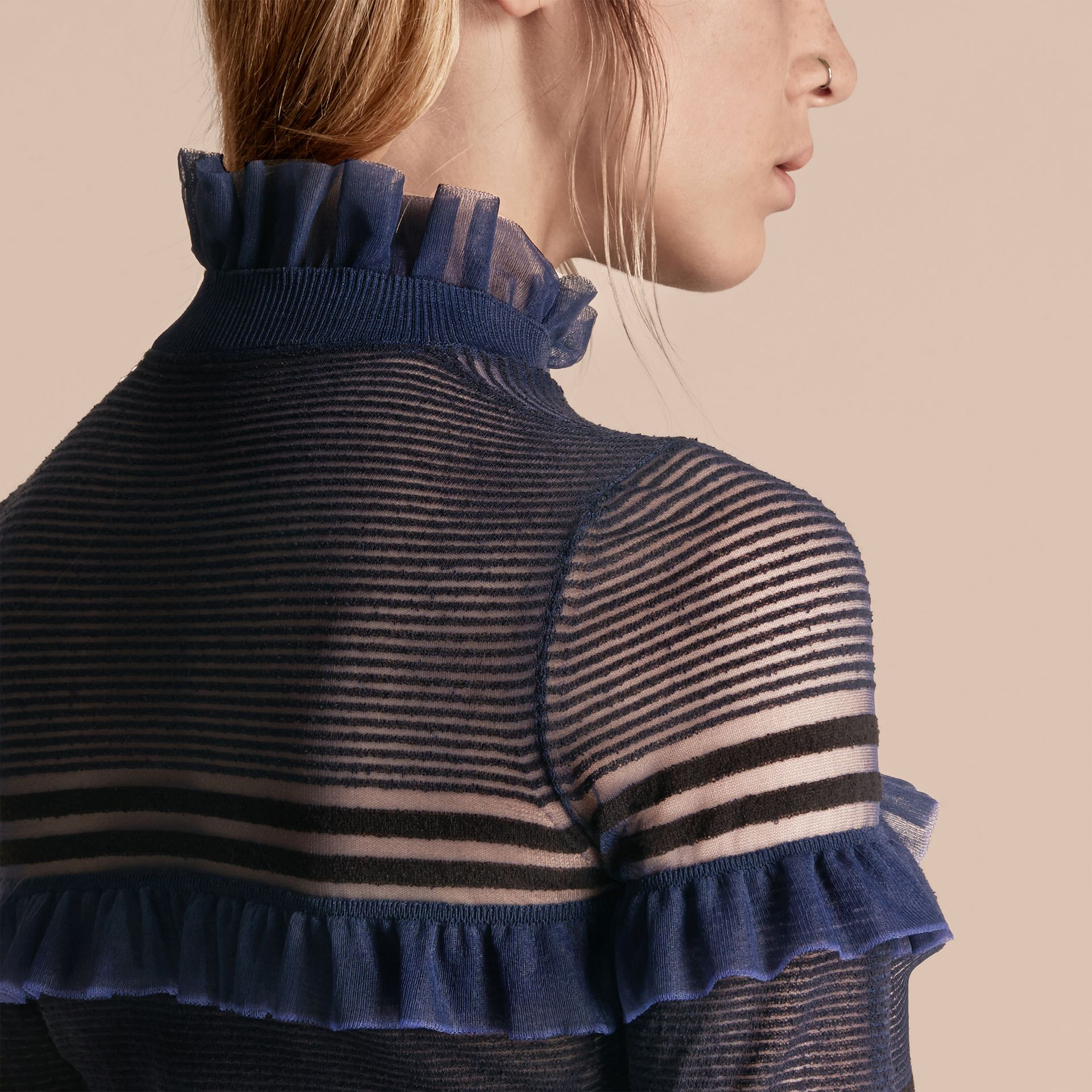 Black/navy Sheer Striped Sweater with Ruffles - gallery image 5