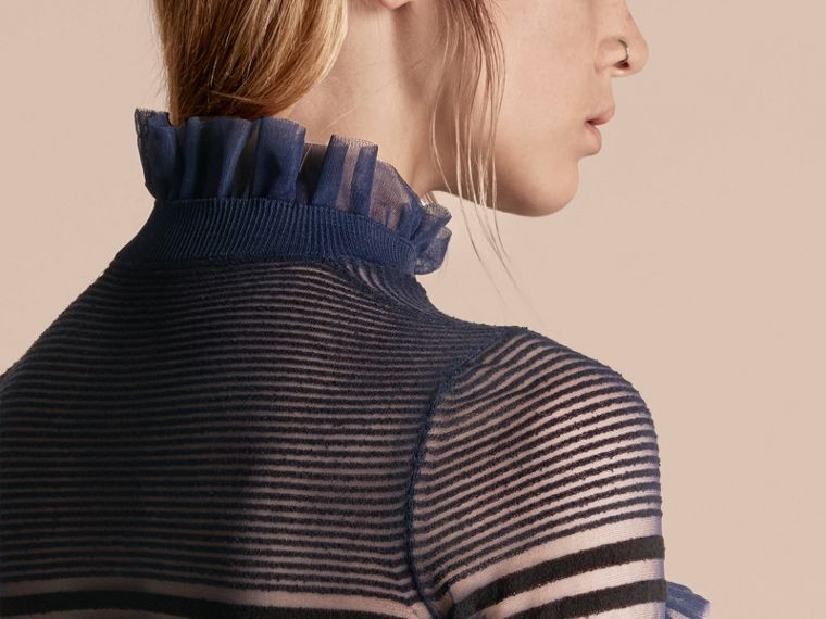 Black/navy Sheer Striped Sweater with Ruffles - cell image 4