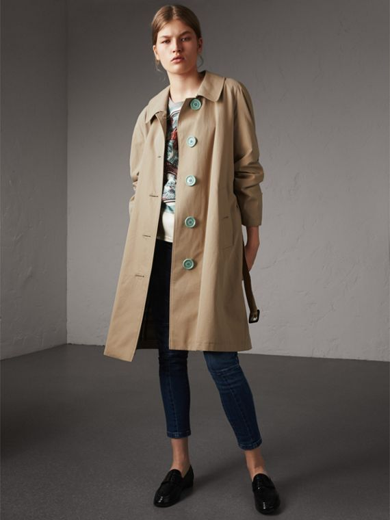 Resin Button Cotton Gabardine Trench Coat in Honey - Women | Burberry