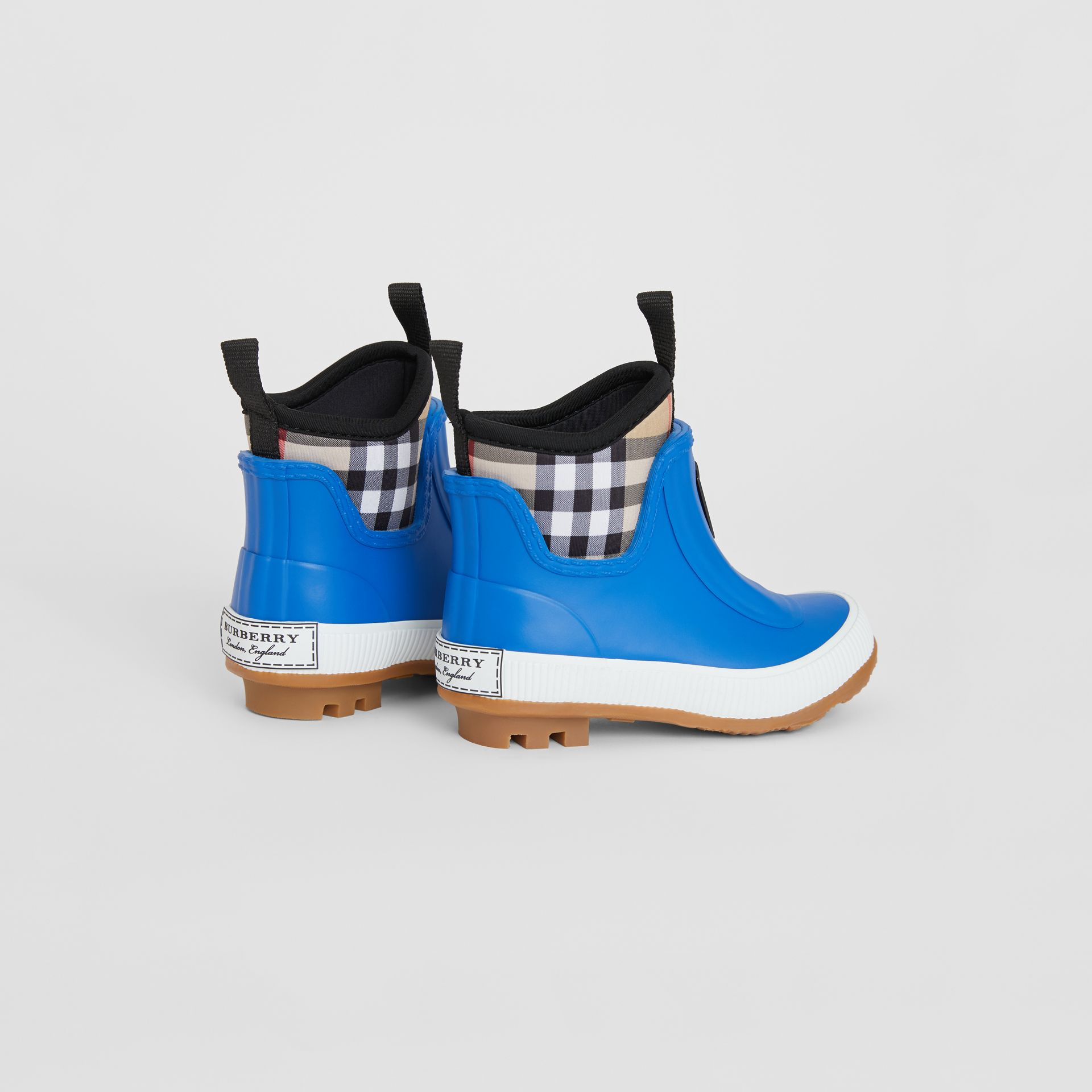 Vintage Check Neoprene and Rubber Rain Boots in Bright Canvas Blue - Children | Burberry United Kingdom - gallery image 2