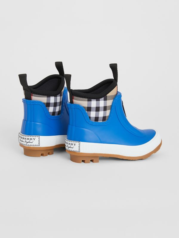 Vintage Check Neoprene and Rubber Rain Boots in Bright Canvas Blue - Children | Burberry United Kingdom - cell image 2