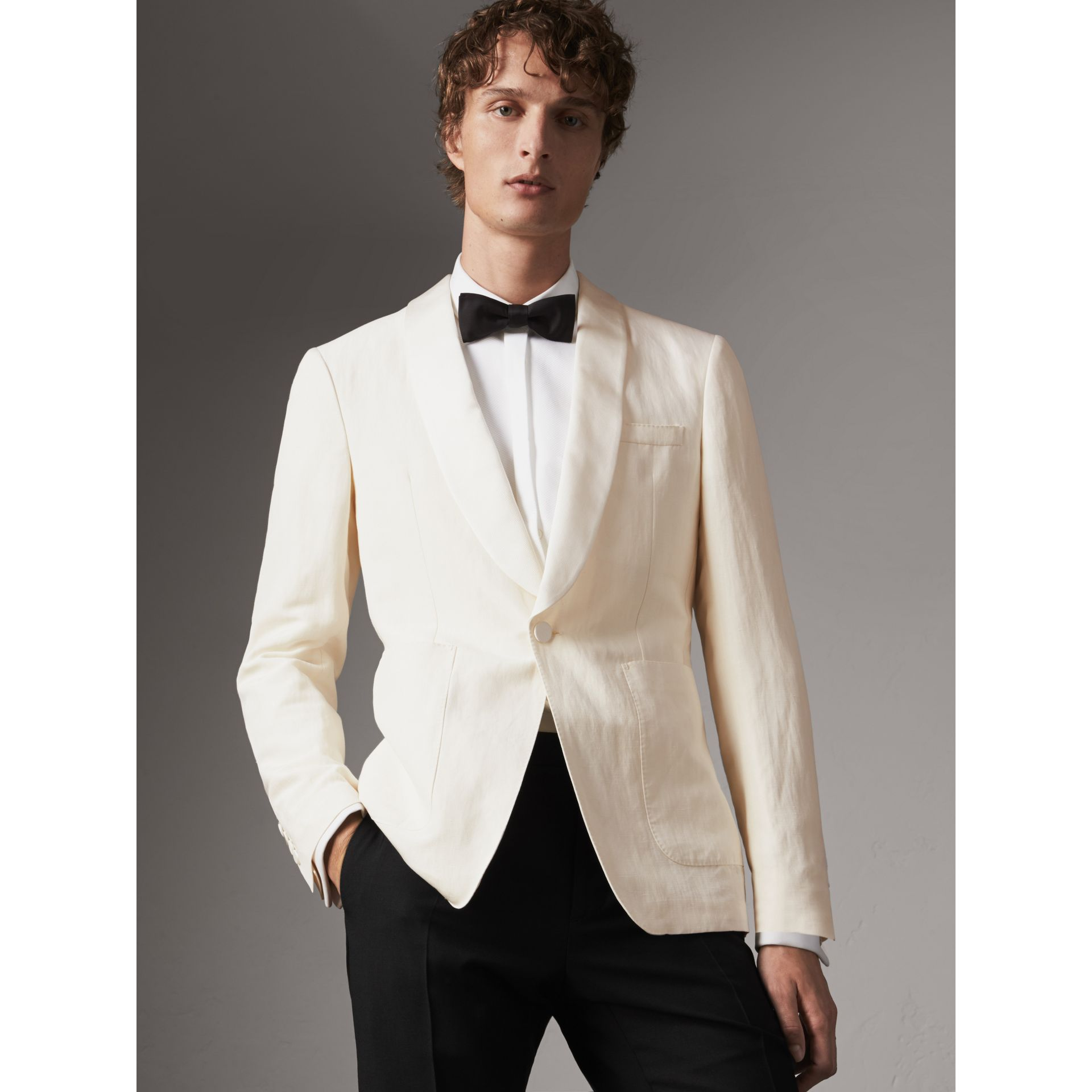 Modern Fit Shawl Lapel Linen Silk Evening Jacket in Off White - Men | Burberry - gallery image 1