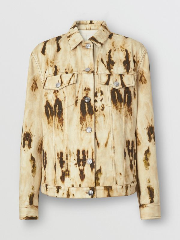 Monogram Motif Bleached Denim Jacket in Honey - Women | Burberry - cell image 3