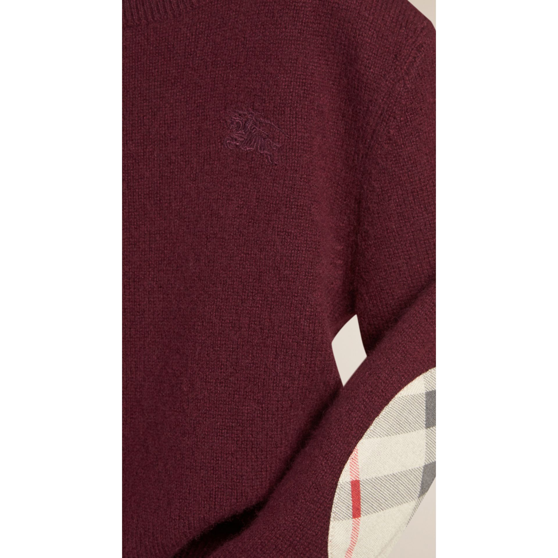 Check Elbow Patch Cashmere Sweater in Deep Claret - gallery image 3