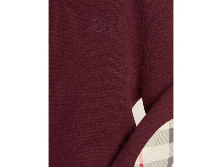 Check Elbow Patch Cashmere Sweater in Deep Claret - cell image 2