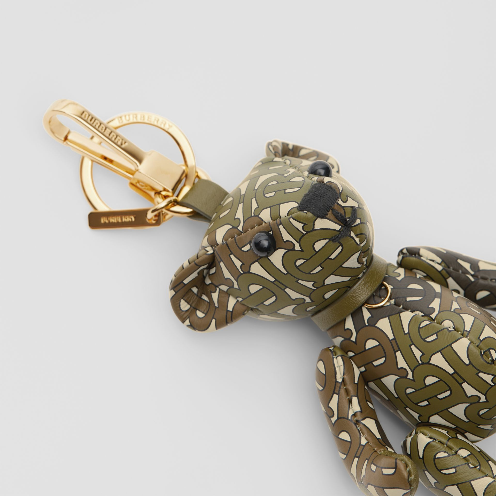 Thomas Bear Charm in Monogram Print Leather in Khaki Green | Burberry United Kingdom - gallery image 5
