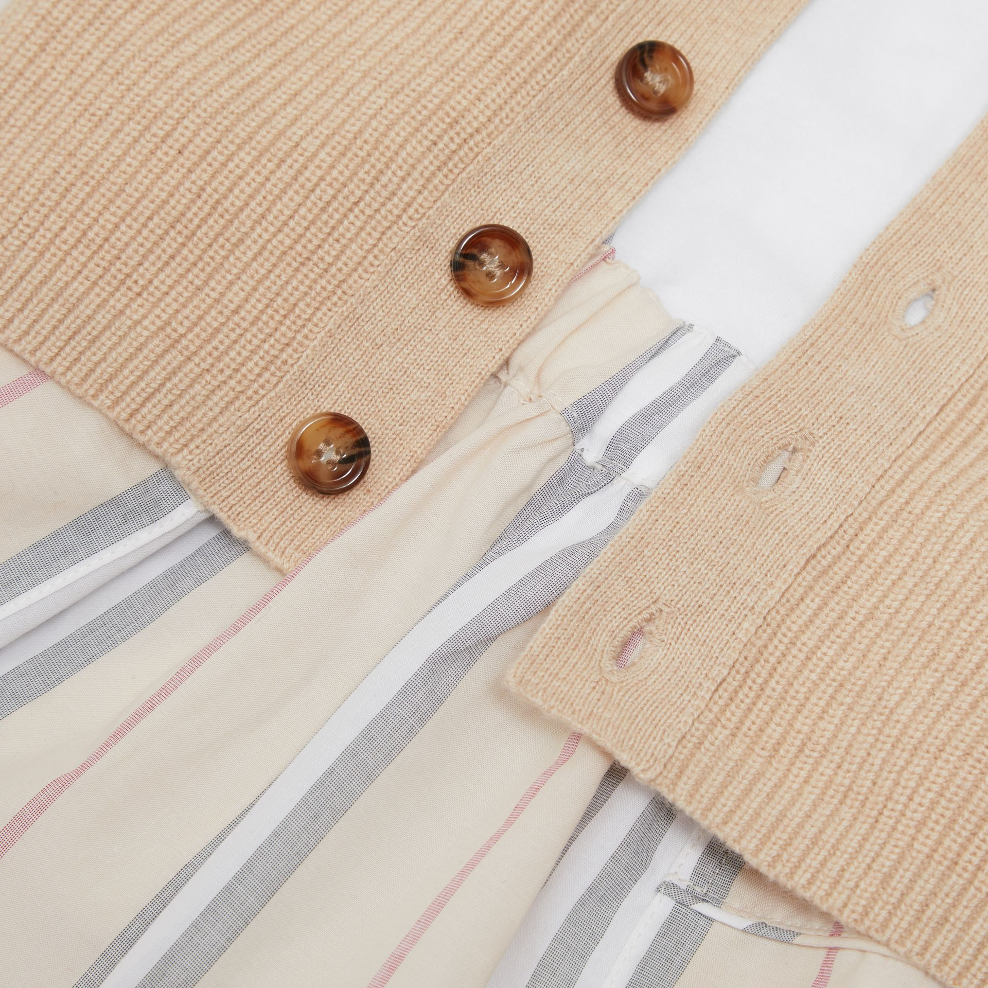 Icon Stripe Cotton Three-piece Baby Gift Set in Pale Stone - Children | Burberry - gallery image 1