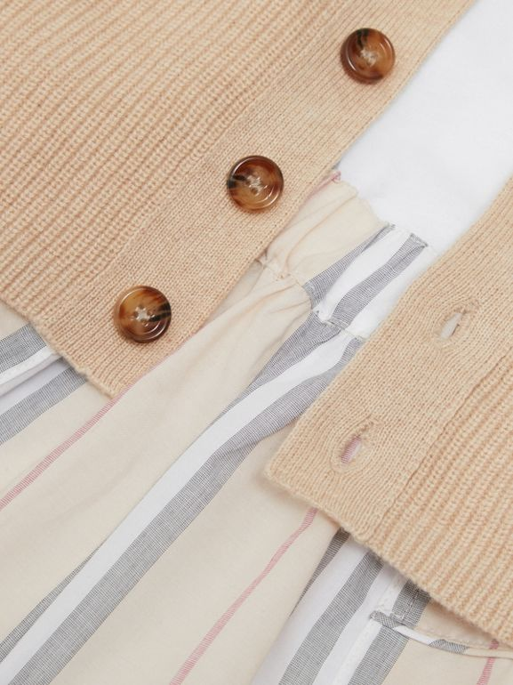 Icon Stripe Cotton Three-piece Baby Gift Set in Pale Stone - Children | Burberry - cell image 1