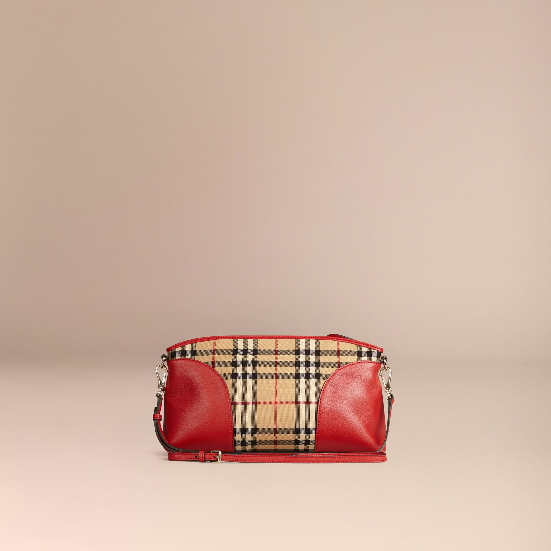 Horseferry Check and Leather Clutch Bag in Honey/parade Red - gallery image 3