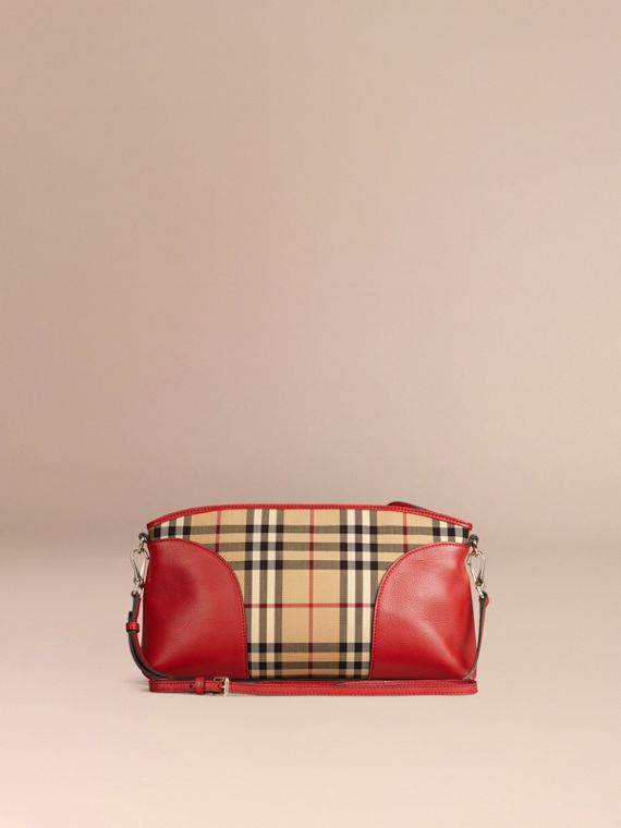 Horseferry Check and Leather Clutch Bag in Honey/parade Red - cell image 2