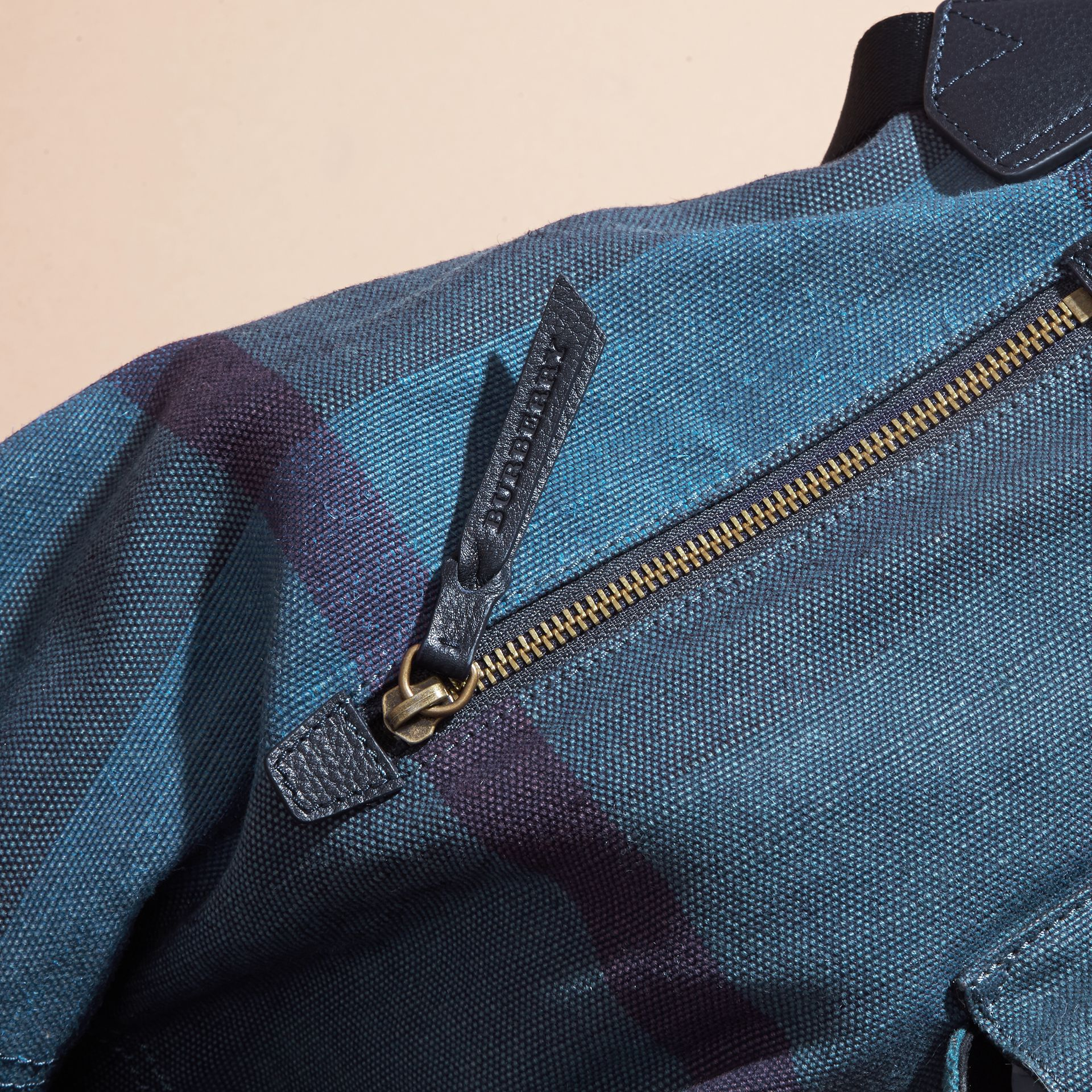 Ultramarine blue Overdyed Canvas Check Backpack Ultramarine Blue - gallery image 6