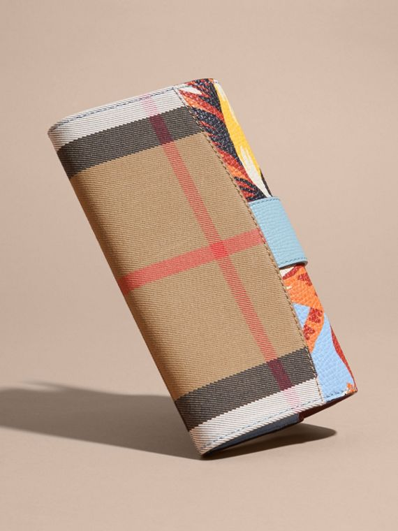 Pale blue/vibrant orange Peony Rose Print and House Check Continental Wallet Pale Blue/vibrant Orange - cell image 3