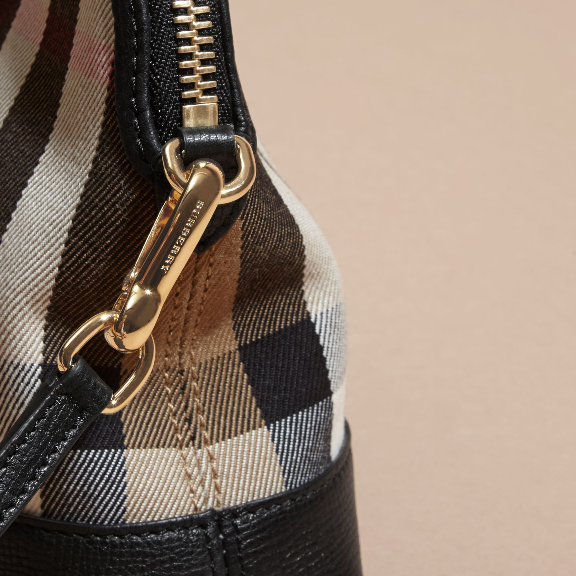 House Check and Leather Clutch Bag in Black - Women | Burberry Canada - gallery image 2