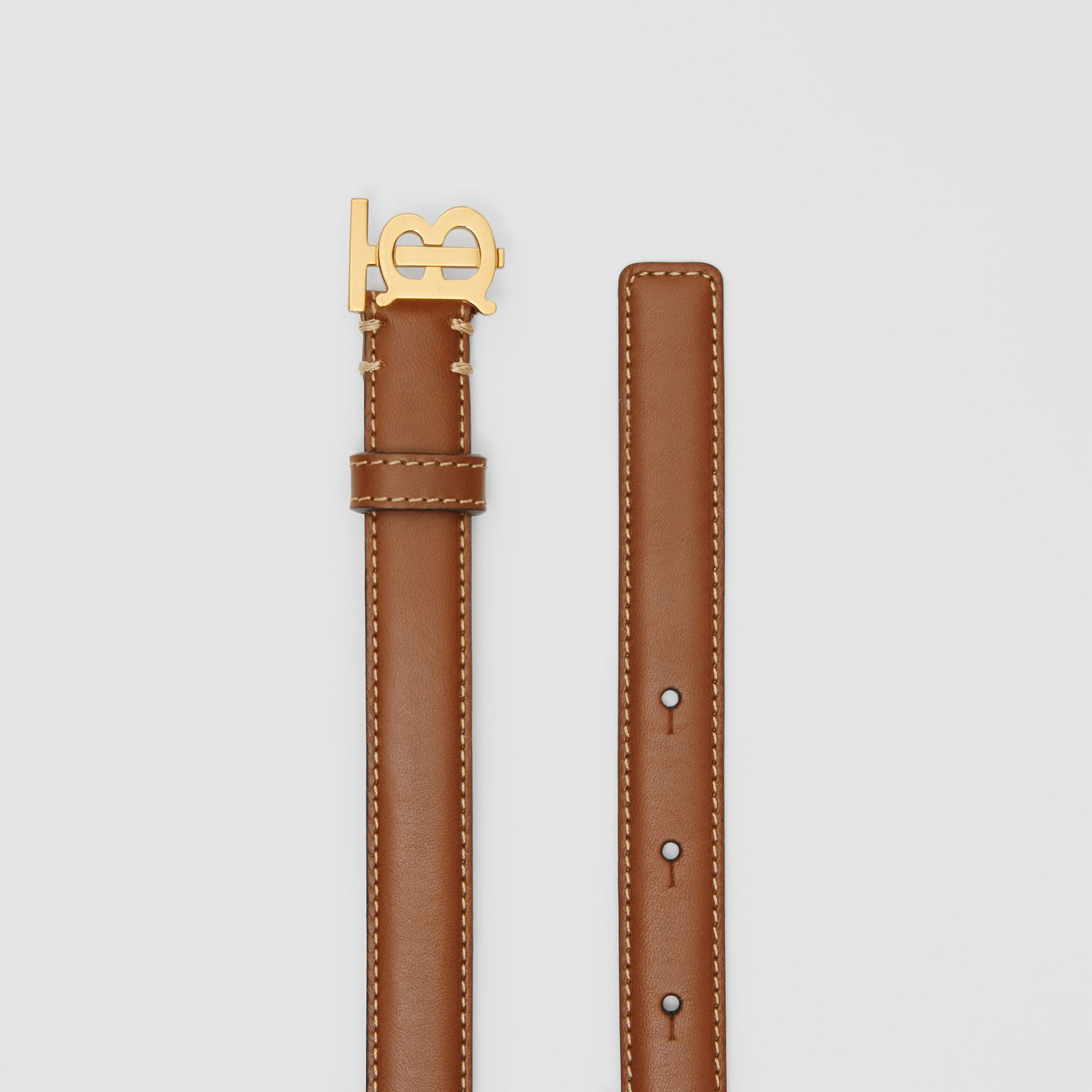 Monogram Motif Topstitched Leather Belt in Tan/light Gold - Women | Burberry United Kingdom - gallery image 5