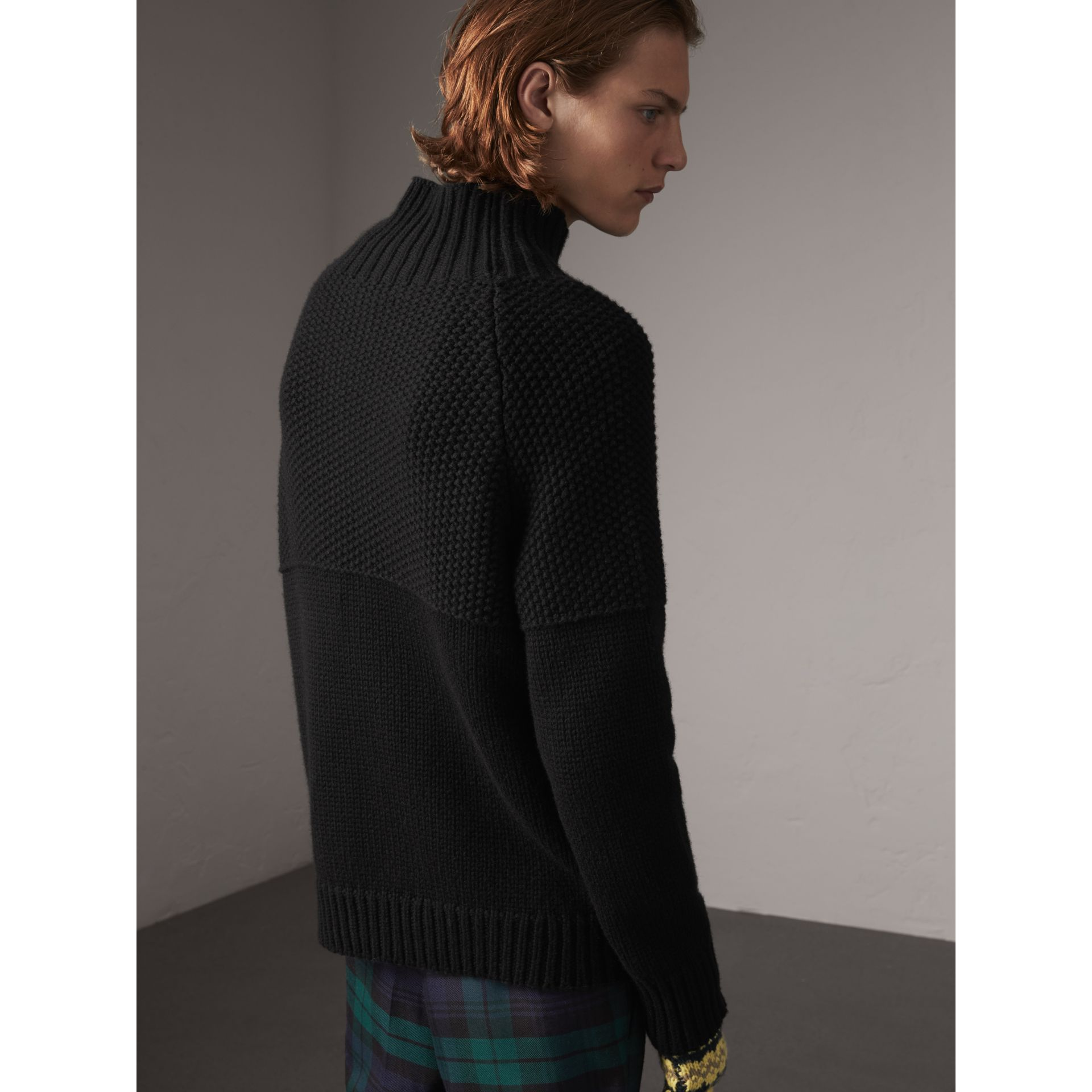Cashmere Fisherman Sweater in Black - Men | Burberry - gallery image 3