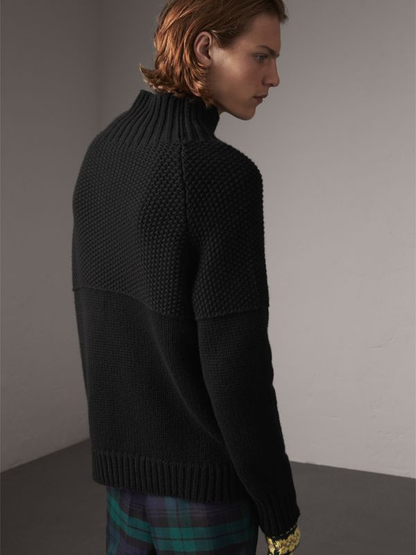 Cashmere Fisherman Sweater in Black - Men | Burberry - cell image 2